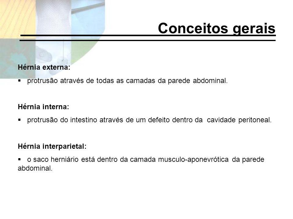 Hérnia externa: protrusão através de todas as camadas da parede abdominal. Hérnia interna: protrusão do intestino através de um defeito dentro da cavi