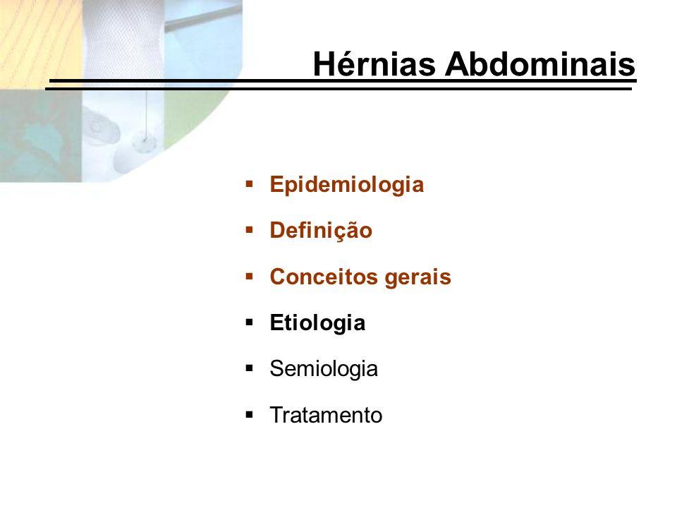 Hérnias Abdominais Epidemiologia Definição Conceitos gerais Etiologia Semiologia Tratamento