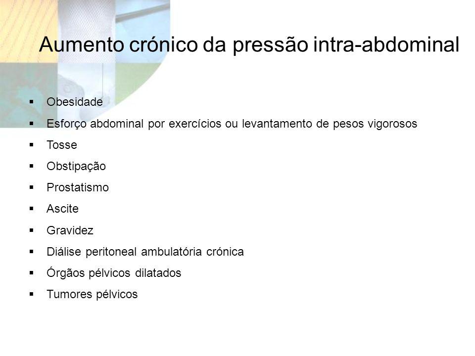 Obesidade Esforço abdominal por exercícios ou levantamento de pesos vigorosos Tosse Obstipação Prostatismo Ascite Gravidez Diálise peritoneal ambulató
