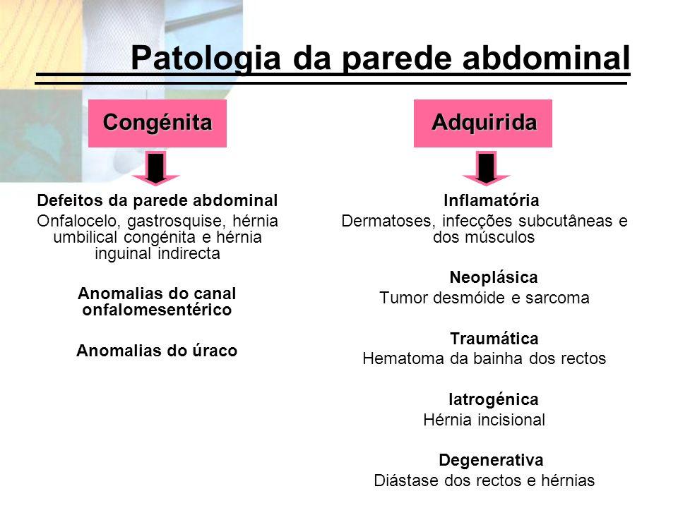 Congénita Defeitos da parede abdominal Onfalocelo, gastrosquise, hérnia umbilical congénita e hérnia inguinal indirecta Anomalias do canal onfalomesen