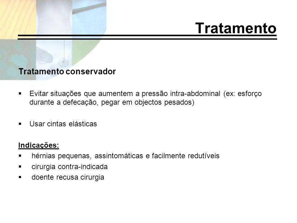 Tratamento Tratamento conservador Evitar situações que aumentem a pressão intra-abdominal (ex: esforço durante a defecação, pegar em objectos pesados)