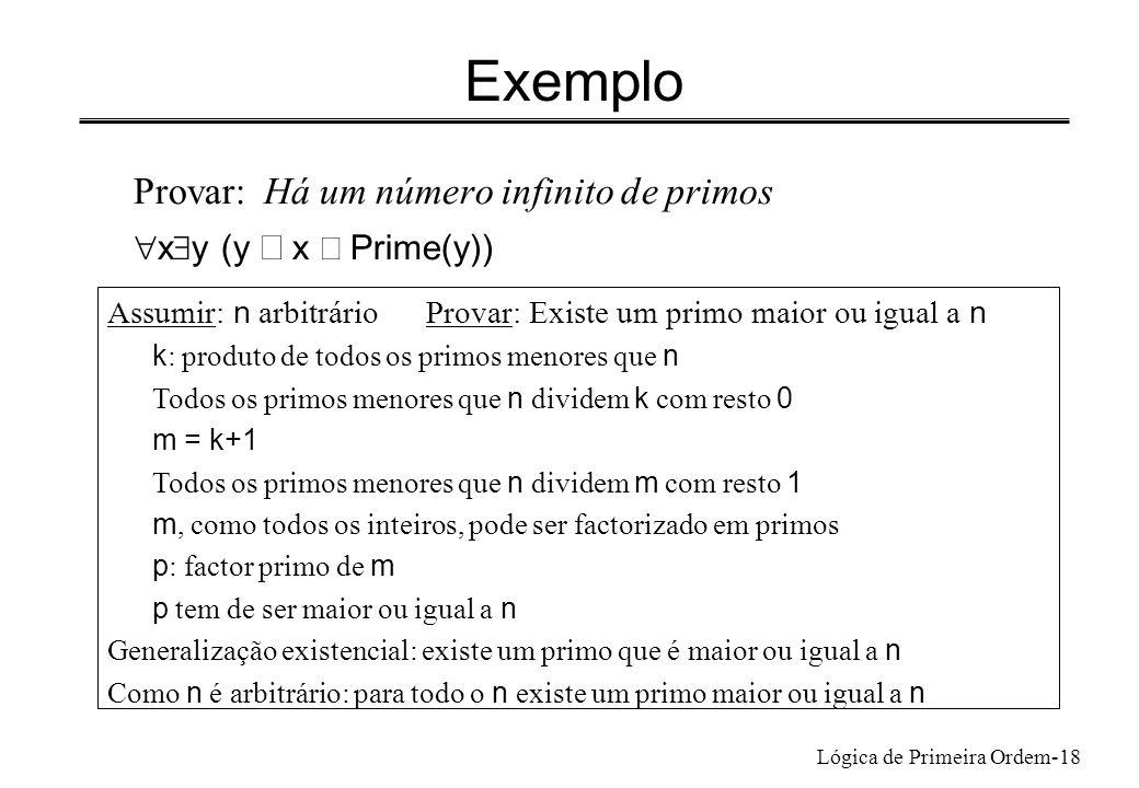 Lógica de Primeira Ordem-18 Exemplo Provar: Há um número infinito de primos x y (y x Prime(y)) Assumir: n arbitrárioProvar: Existe um primo maior ou i