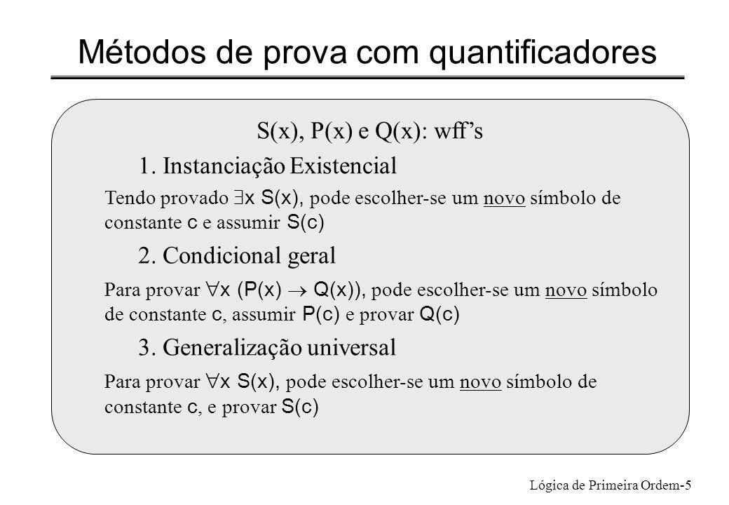 Lógica de Primeira Ordem-5 S(x), P(x) e Q(x): wffs 1. Instanciação Existencial Tendo provado x S(x), pode escolher-se um novo símbolo de constante c e