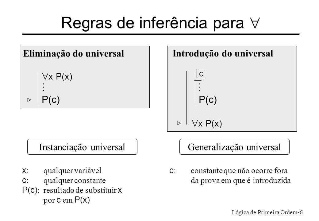Lógica de Primeira Ordem-6 Regras de inferência para Eliminação do universal x P(x) P(c) Introdução do universal P(c) x P(x) Generalização universalIn
