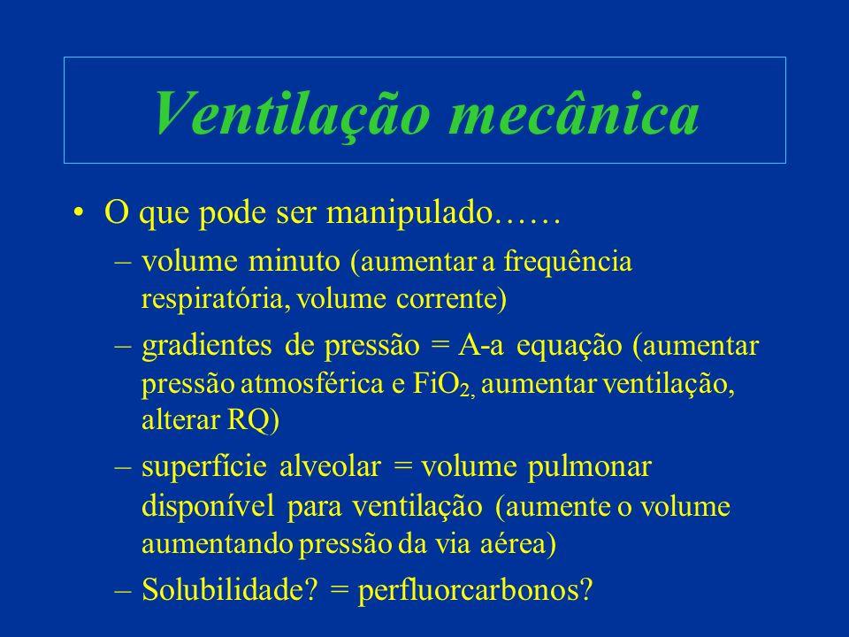 Ventilação mecânica O que pode ser manipulado…… –volume minuto (aumentar a frequência respiratória, volume corrente) –gradientes de pressão = A-a equa