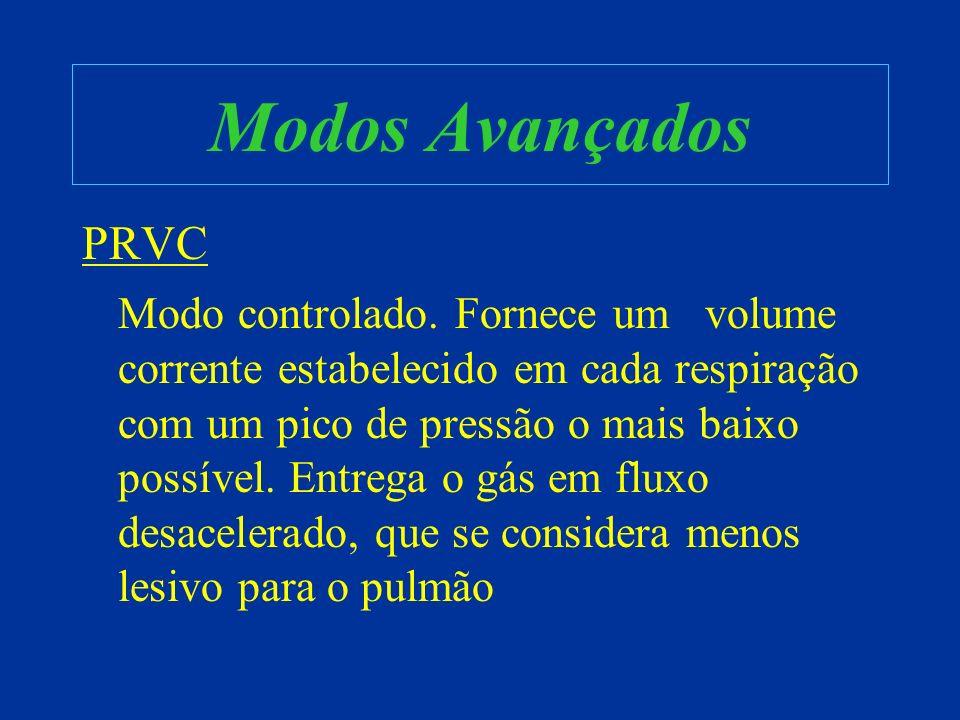 Modos Avançados PRVC Modo controlado. Fornece um volume corrente estabelecido em cada respiração com um pico de pressão o mais baixo possível. Entrega