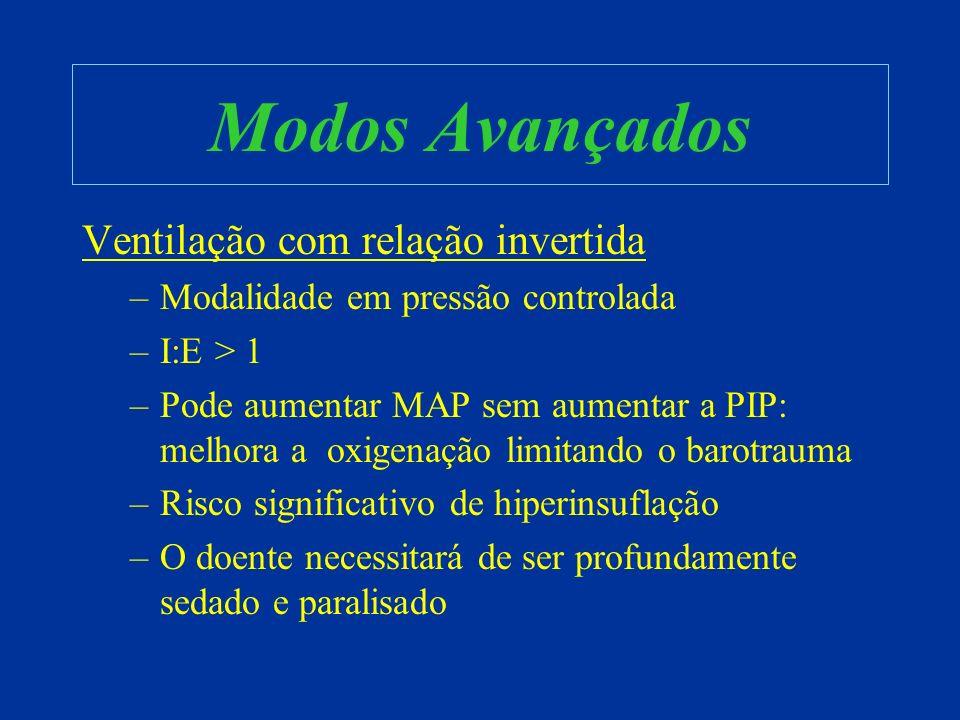 Modos Avançados Ventilação com relação invertida –Modalidade em pressão controlada –I:E > 1 –Pode aumentar MAP sem aumentar a PIP: melhora a oxigenaçã
