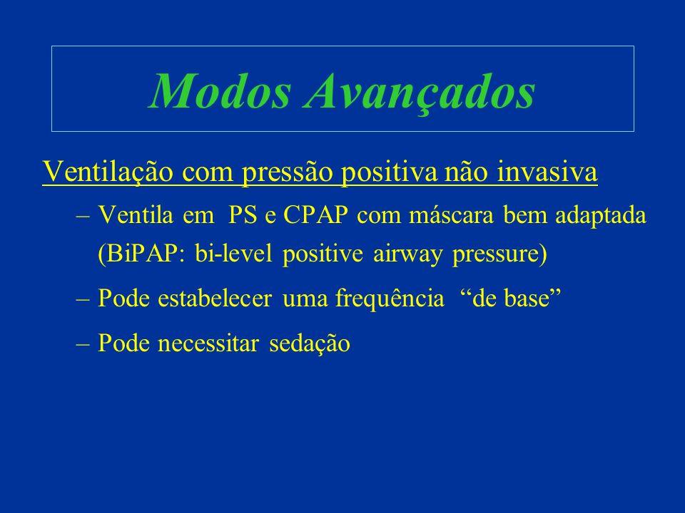 Modos Avançados Ventilação com pressão positiva não invasiva –Ventila em PS e CPAP com máscara bem adaptada (BiPAP: bi-level positive airway pressure)