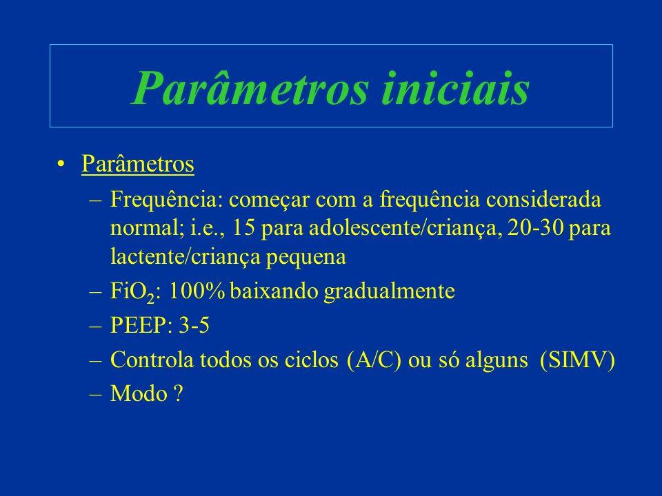 Parâmetros iniciais Parâmetros –Frequência: começar com a frequência considerada normal; i.e., 15 para adolescente/criança, 20-30 para lactente/crianç