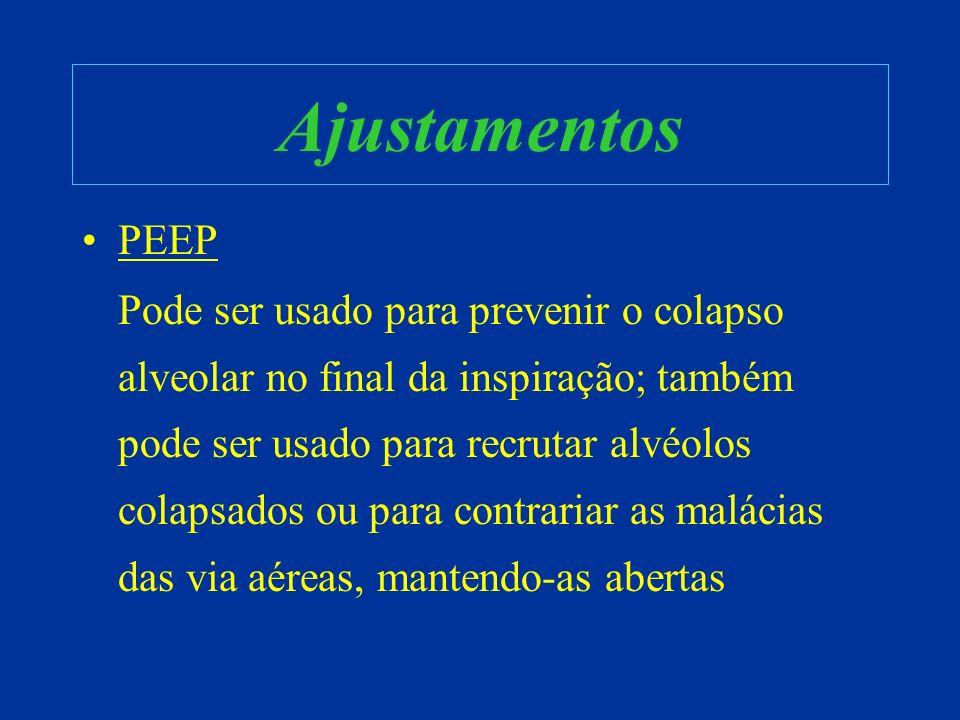 Ajustamentos PEEP Pode ser usado para prevenir o colapso alveolar no final da inspiração; também pode ser usado para recrutar alvéolos colapsados ou p