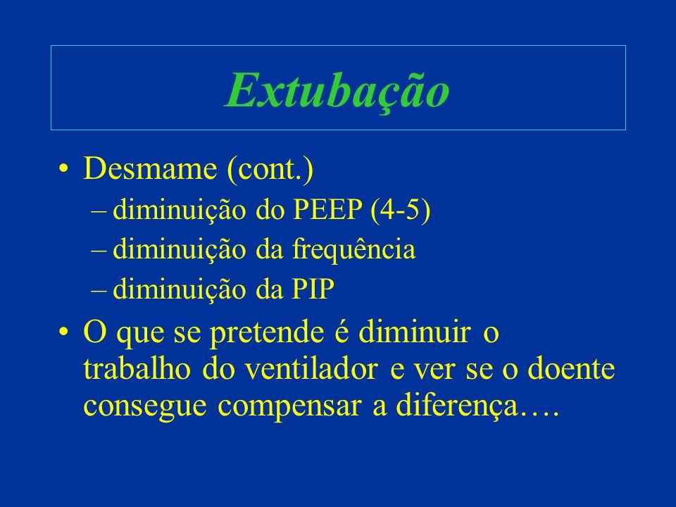 Extubação Desmame (cont.) –diminuição do PEEP (4-5) –diminuição da frequência –diminuição da PIP O que se pretende é diminuir o trabalho do ventilador