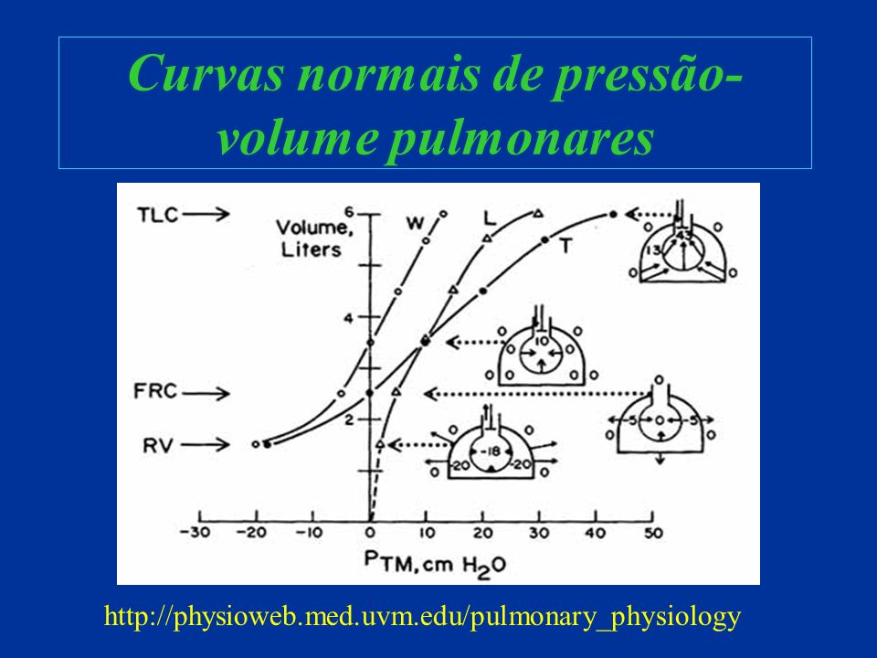 Curvas normais de pressão- volume pulmonares http://physioweb.med.uvm.edu/pulmonary_physiology