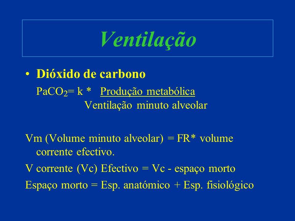 Oxigenação Oxigénio: –Volume minuto é o volume de gás fresco entregue aos alvéolos num minuto –Pressão parcial de oxigénio no alvéolo (P A O 2 ) é a pressão necessária para forçar as trocas gasosas através da barreira alvéolo capilar –P A O 2 = ({Pressão atmosférica -vapor de água}*FiO 2 ) - P a CO 2 / RQ –Boa perfusão do alvéolo que está bem ventilado –Hemoglobina totalmente saturada no 1/3 inicial do trajecto capilar