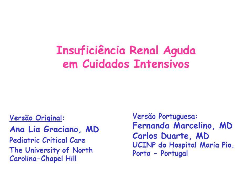 Insuficiência renal aguda: Fluidoterapia Se o paciente tem sobrecarga de líquidos Restrição hídrica (perdas insensíveis) Furosemida 1-2 mg/kg Terapia de substituição renal (ver a seguir) Se o paciente está desidratado: 1º repor volume intravascular Depois tratar como euvolémico (ver abaixo) Se o paciente está euvolémico: Restringir às perdas insensíveis (30-35 ml/100kcal/24 horas) + outras perdas (urina, drenagem torácica, etc)