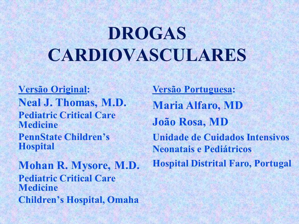 DROGAS CARDIOVASCULARES Versão Original: Neal J. Thomas, M.D. Pediatric Critical Care Medicine PennState Childrens Hospital Mohan R. Mysore, M.D. Pedi