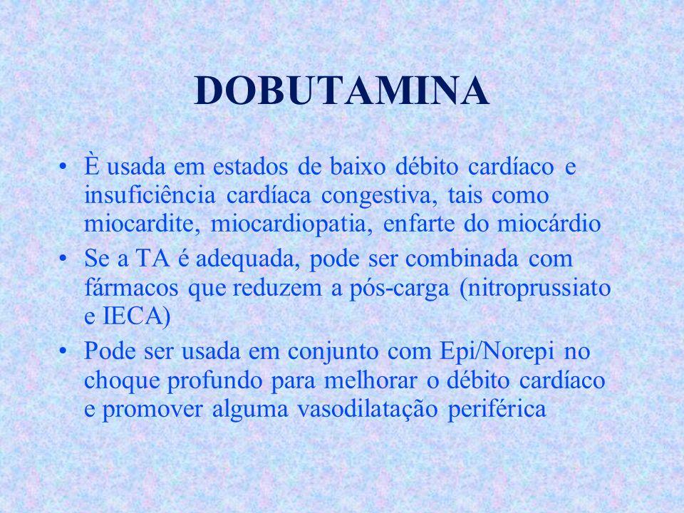 DOBUTAMINA È usada em estados de baixo débito cardíaco e insuficiência cardíaca congestiva, tais como miocardite, miocardiopatia, enfarte do miocárdio