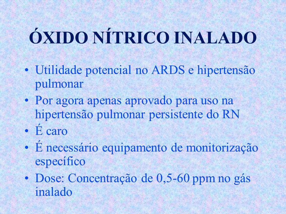 ÓXIDO NÍTRICO INALADO Utilidade potencial no ARDS e hipertensão pulmonar Por agora apenas aprovado para uso na hipertensão pulmonar persistente do RN