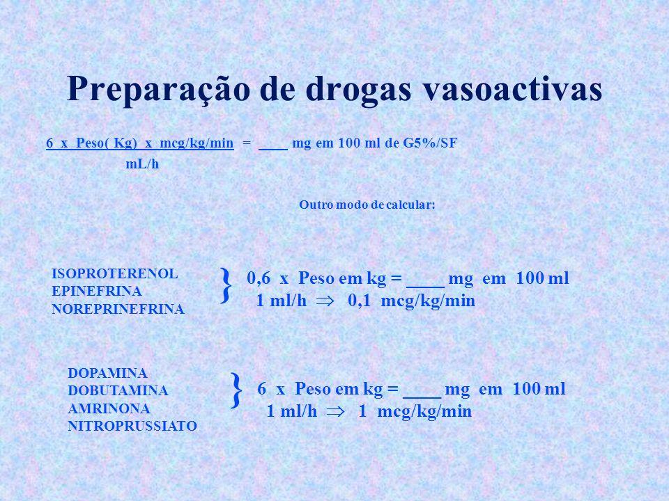 Preparação de drogas vasoactivas 6 x Peso( Kg) x mcg/kg/min = mg em 100 ml de G5%/SF mL/h Outro modo de calcular: ISOPROTERENOL EPINEFRINA NOREPRINEFR