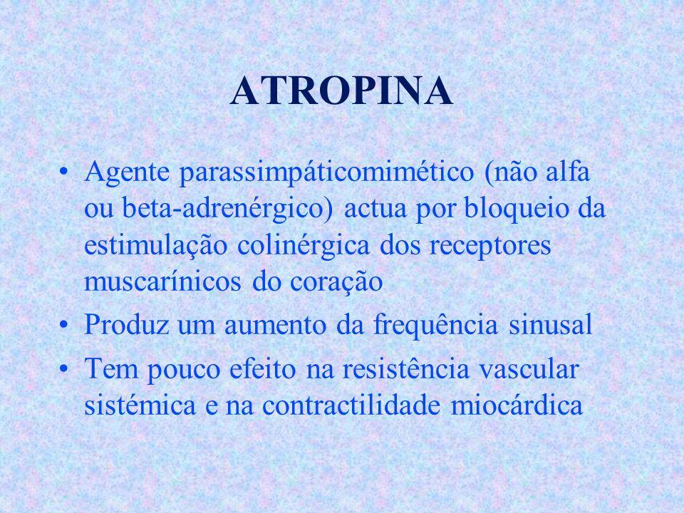 ATROPINA Agente parassimpáticomimético (não alfa ou beta-adrenérgico) actua por bloqueio da estimulação colinérgica dos receptores muscarínicos do cor