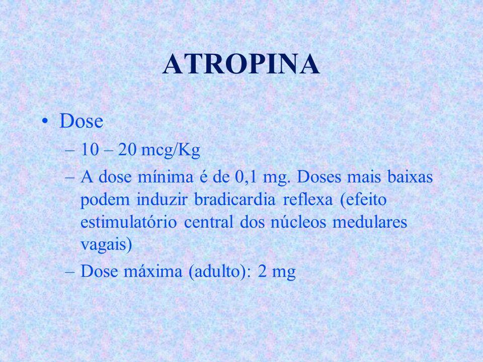 ATROPINA Dose –10 – 20 mcg/Kg –A dose mínima é de 0,1 mg. Doses mais baixas podem induzir bradicardia reflexa (efeito estimulatório central dos núcleo