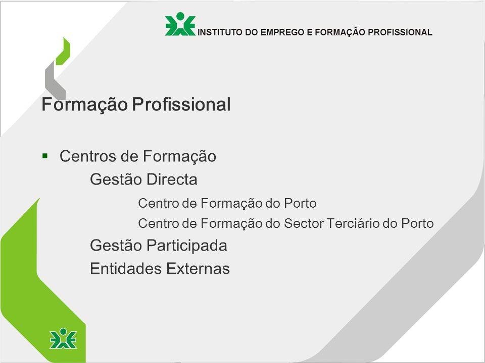 Formação Profissional §Centros de Formação Gestão Directa Centro de Formação do Porto Centro de Formação do Sector Terciário do Porto Gestão Participada Entidades Externas