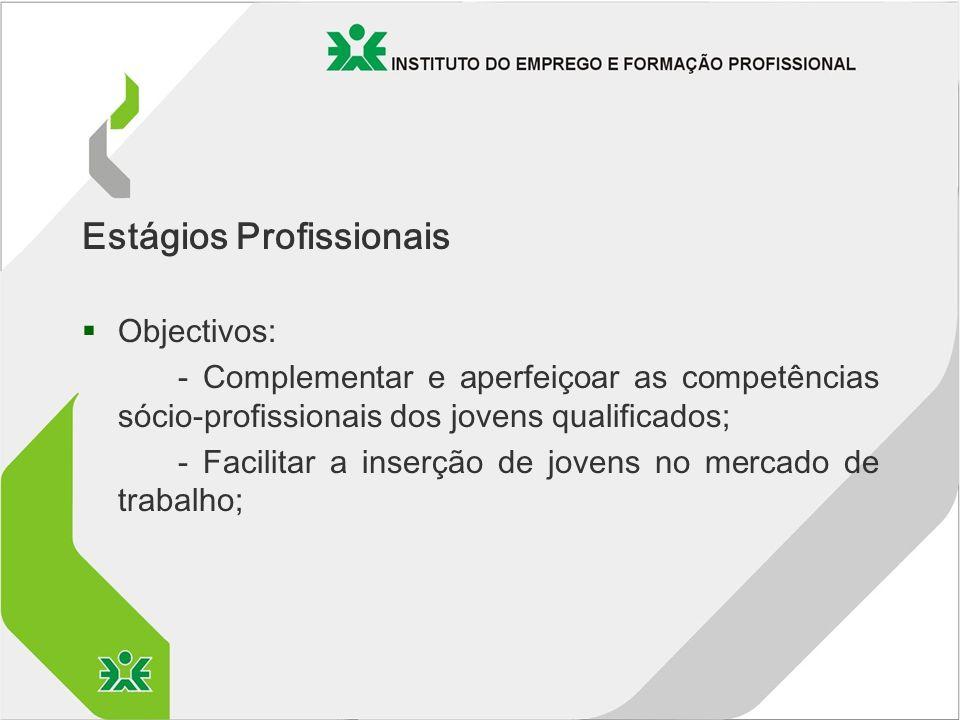 Estágios Profissionais §Objectivos: - Complementar e aperfeiçoar as competências sócio-profissionais dos jovens qualificados; - Facilitar a inserção de jovens no mercado de trabalho;
