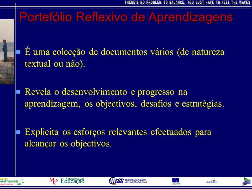Portefólio Reflexivo de Aprendizagens É uma colecção de documentos vários (de natureza textual ou não). Revela o desenvolvimento e progresso na aprend