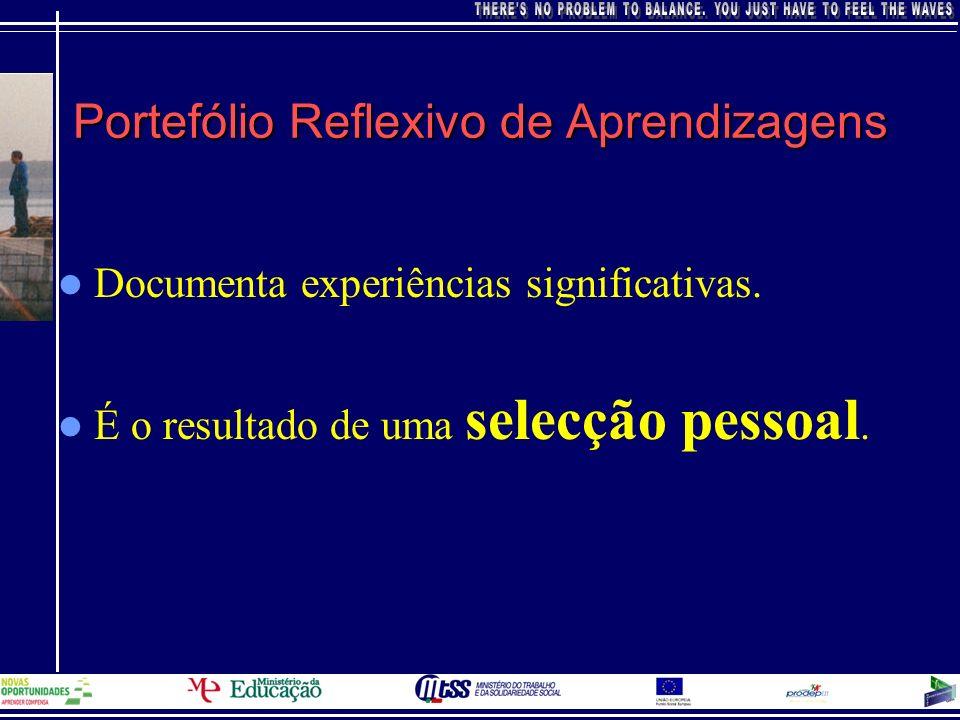 Portefólio Reflexivo de Aprendizagens Documenta experiências significativas. É o resultado de uma selecção pessoal.