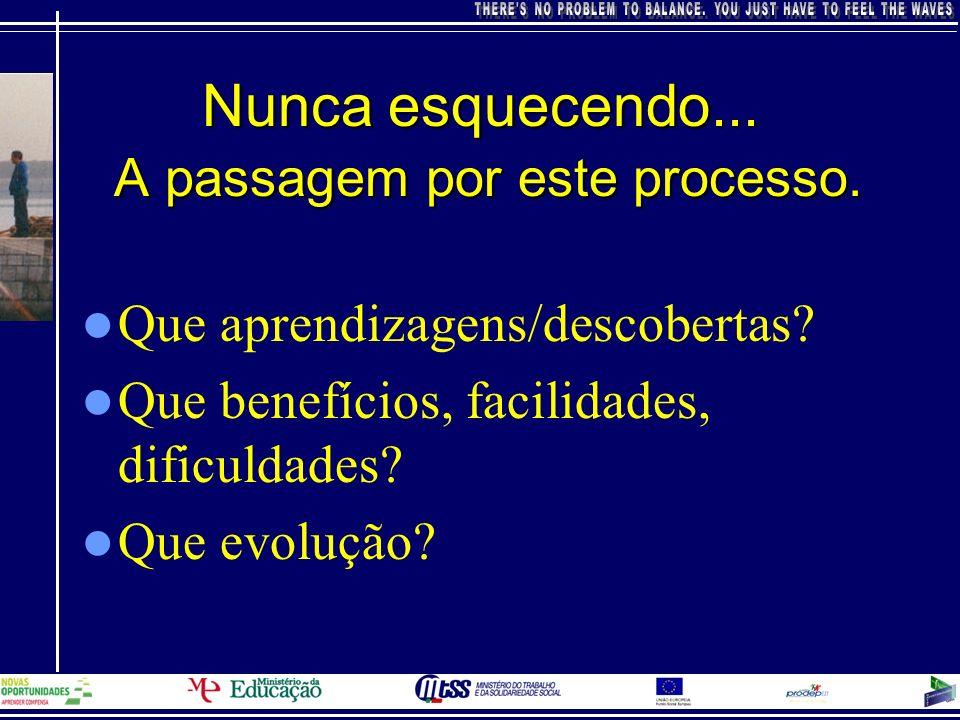 Nunca esquecendo... A passagem por este processo. Que aprendizagens/descobertas? Que benefícios, facilidades, dificuldades? Que evolução?