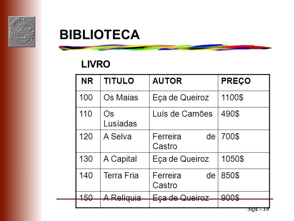 SQL - 10 BIBLIOTECA LIVRO NRTITULOAUTORPREÇO 100Os MaiasEça de Queiroz1100$ 110Os Lusíadas Luís de Camões490$ 120A SelvaFerreira de Castro 700$ 130A C