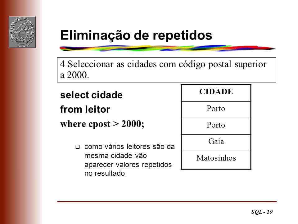 SQL - 19 Eliminação de repetidos select cidade from leitor where cpost > 2000; como vários leitores são da mesma cidade vão aparecer valores repetidos