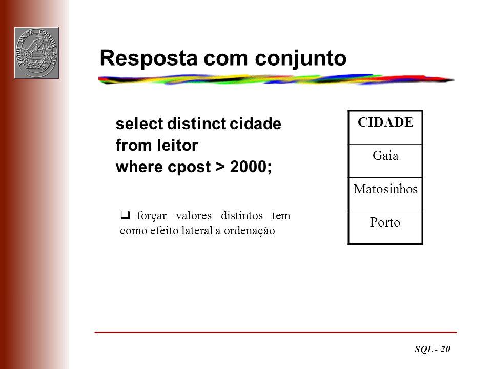 SQL - 20 Resposta com conjunto CIDADE Gaia Matosinhos Porto select distinct cidade from leitor where cpost > 2000; forçar valores distintos tem como e