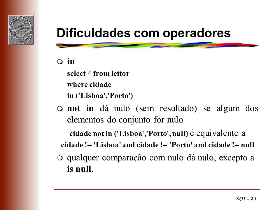 SQL - 25 Dificuldades com operadores m in select * from leitor where cidade in ('Lisboa','Porto') m not in dá nulo (sem resultado) se algum dos elemen