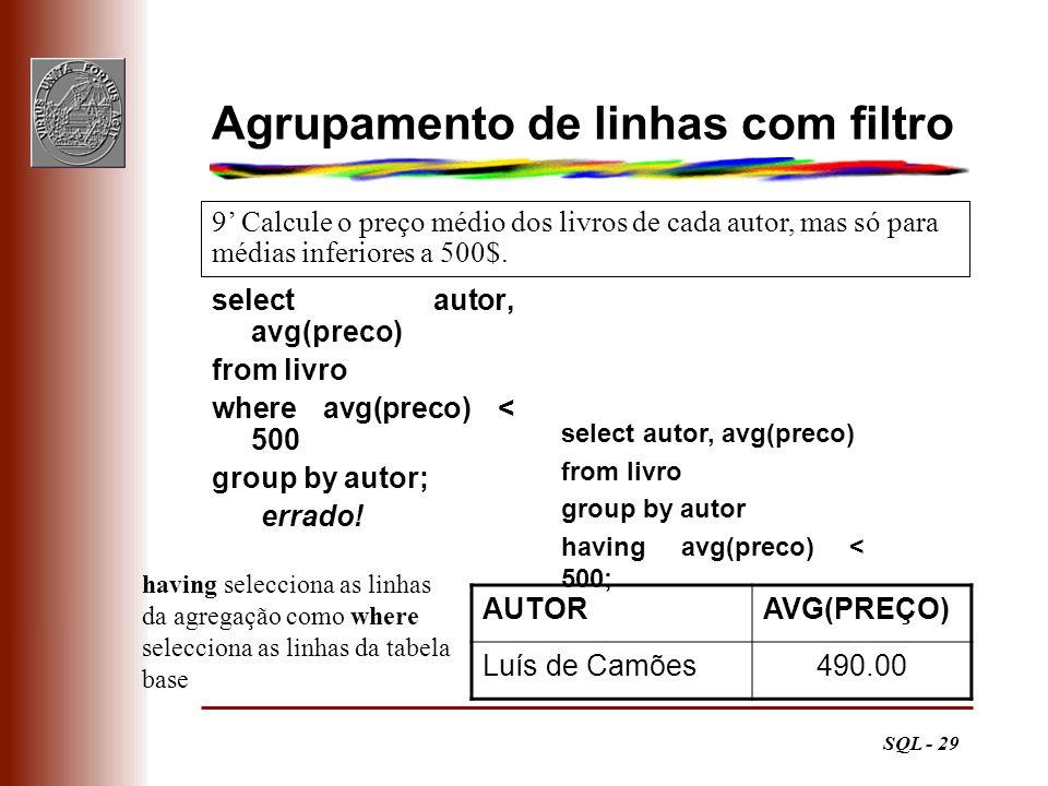 SQL - 29 Agrupamento de linhas com filtro select autor, avg(preco) from livro where avg(preco) < 500 group by autor; errado! 9 Calcule o preço médio d