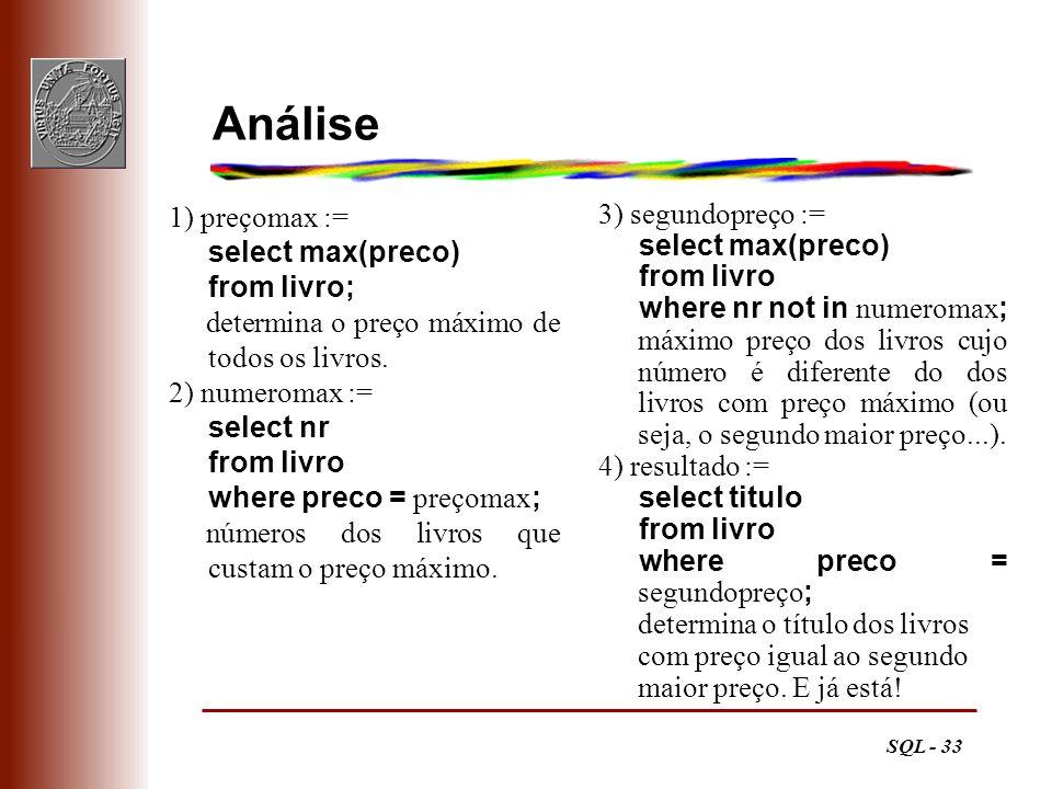 SQL - 33 Análise 1) preçomax := select max(preco) from livro; determina o preço máximo de todos os livros. 2) numeromax := select nr from livro where