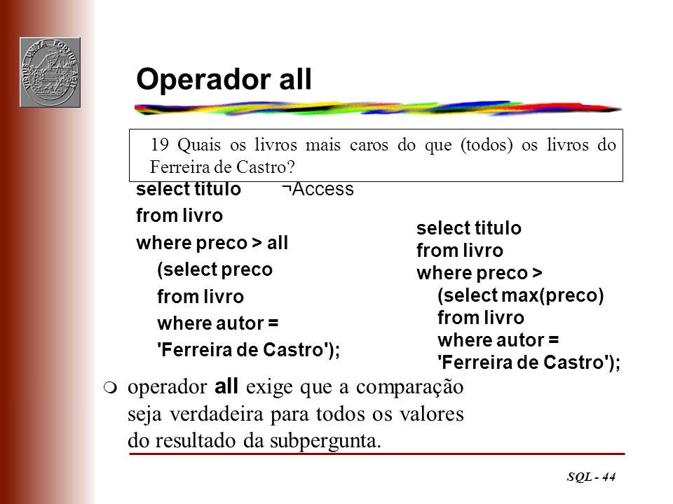 SQL - 44 19 Quais os livros mais caros do que (todos) os livros do Ferreira de Castro? Operador all select titulo ¬Access from livro where preco > all