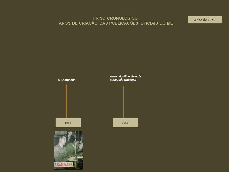 19531956 A Campanha FRISO CRONOLÓGICO ANOS DE CRIAÇÃO DAS PUBLICAÇÕES OFICIAIS DO ME Anos de 1950 Anais do Ministério da Educação Nacional