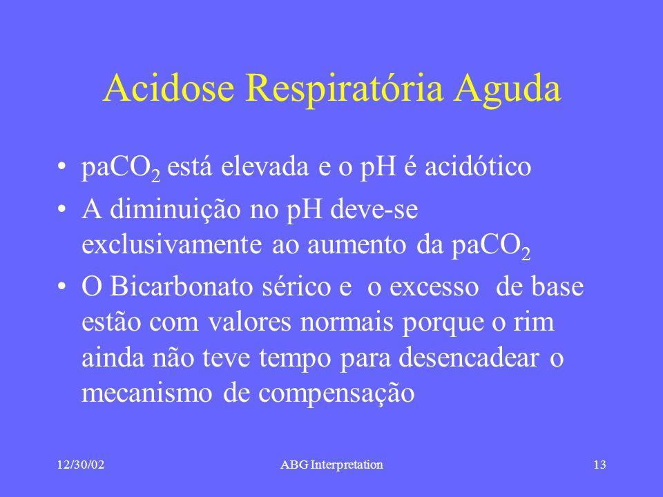 12/30/02ABG Interpretation13 Acidose Respiratória Aguda paCO 2 está elevada e o pH é acidótico A diminuição no pH deve-se exclusivamente ao aumento da paCO 2 O Bicarbonato sérico e o excesso de base estão com valores normais porque o rim ainda não teve tempo para desencadear o mecanismo de compensação