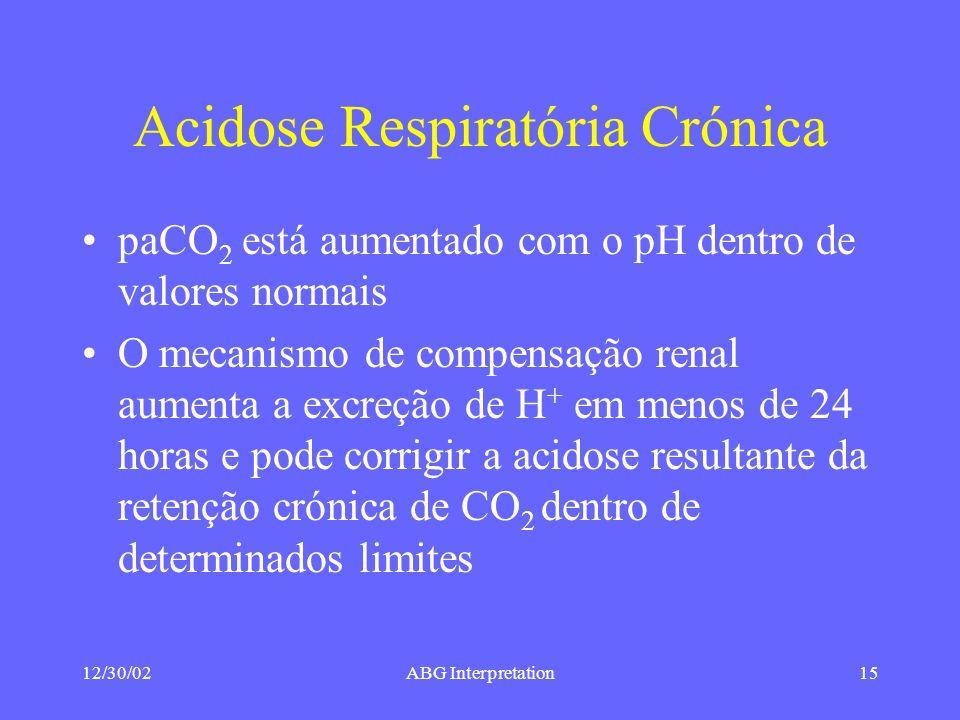 12/30/02ABG Interpretation15 Acidose Respiratória Crónica paCO 2 está aumentado com o pH dentro de valores normais O mecanismo de compensação renal aumenta a excreção de H + em menos de 24 horas e pode corrigir a acidose resultante da retenção crónica de CO 2 dentro de determinados limites