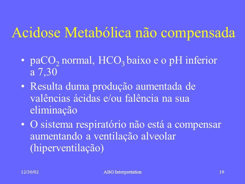 12/30/02ABG Interpretation19 Acidose Metabólica não compensada paCO 2 normal, HCO 3 baixo e o pH inferior a 7,30 Resulta duma produção aumentada de valências ácidas e/ou falência na sua eliminação O sistema respiratório não está a compensar aumentando a ventilação alveolar (hiperventilação)