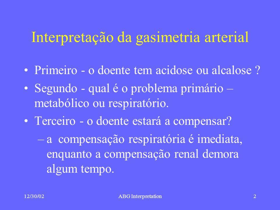 12/30/02ABG Interpretation2 Interpretação da gasimetria arterial Primeiro - o doente tem acidose ou alcalose .