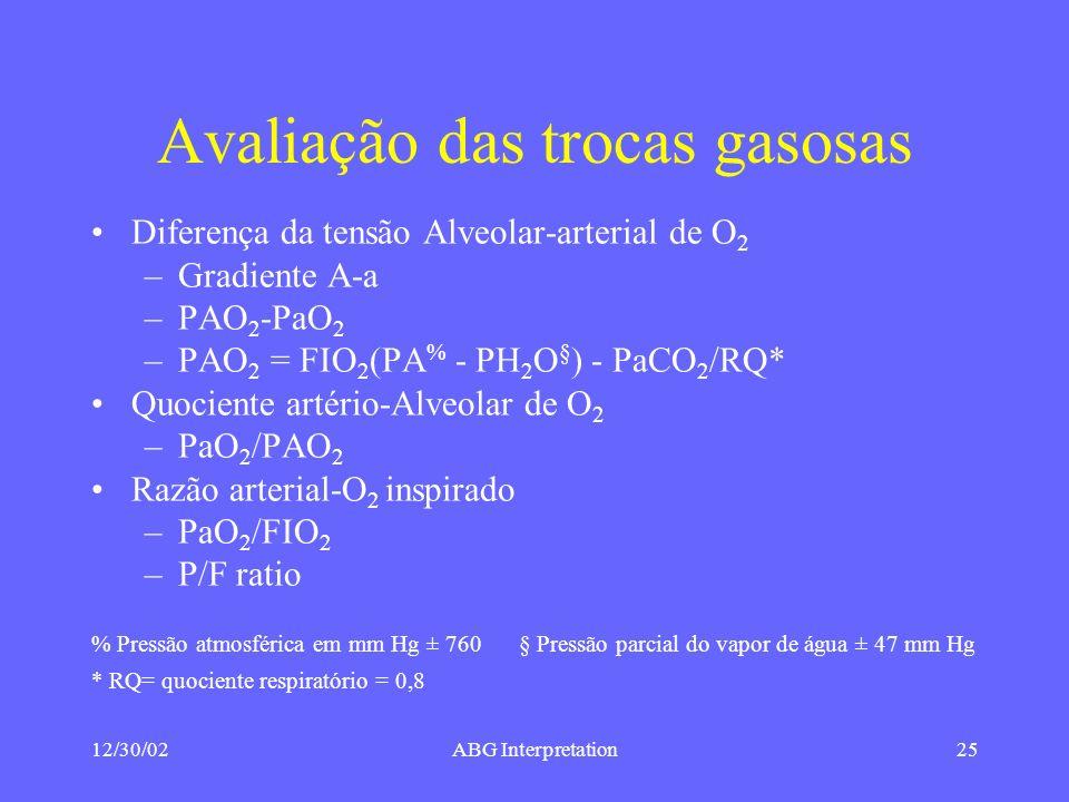 12/30/02ABG Interpretation25 Avaliação das trocas gasosas Diferença da tensão Alveolar-arterial de O 2 –Gradiente A-a –PAO 2 -PaO 2 –PAO 2 = FIO 2 (PA % - PH 2 O § ) - PaCO 2 /RQ* Quociente artério-Alveolar de O 2 –PaO 2 /PAO 2 Razão arterial-O 2 inspirado –PaO 2 /FIO 2 –P/F ratio % Pressão atmosférica em mm Hg ± 760 § Pressão parcial do vapor de água ± 47 mm Hg * RQ= quociente respiratório = 0,8