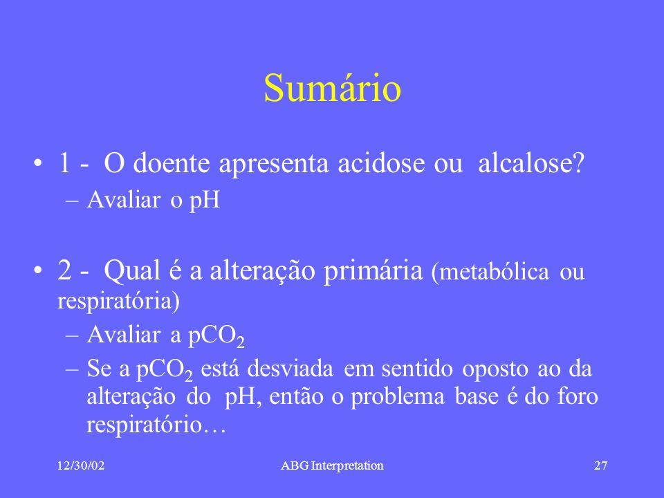 12/30/02ABG Interpretation27 Sumário 1 - O doente apresenta acidose ou alcalose.