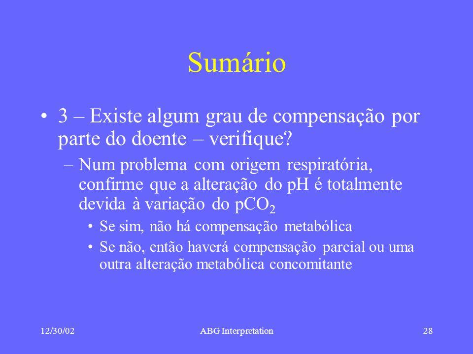 12/30/02ABG Interpretation28 Sumário 3 – Existe algum grau de compensação por parte do doente – verifique.