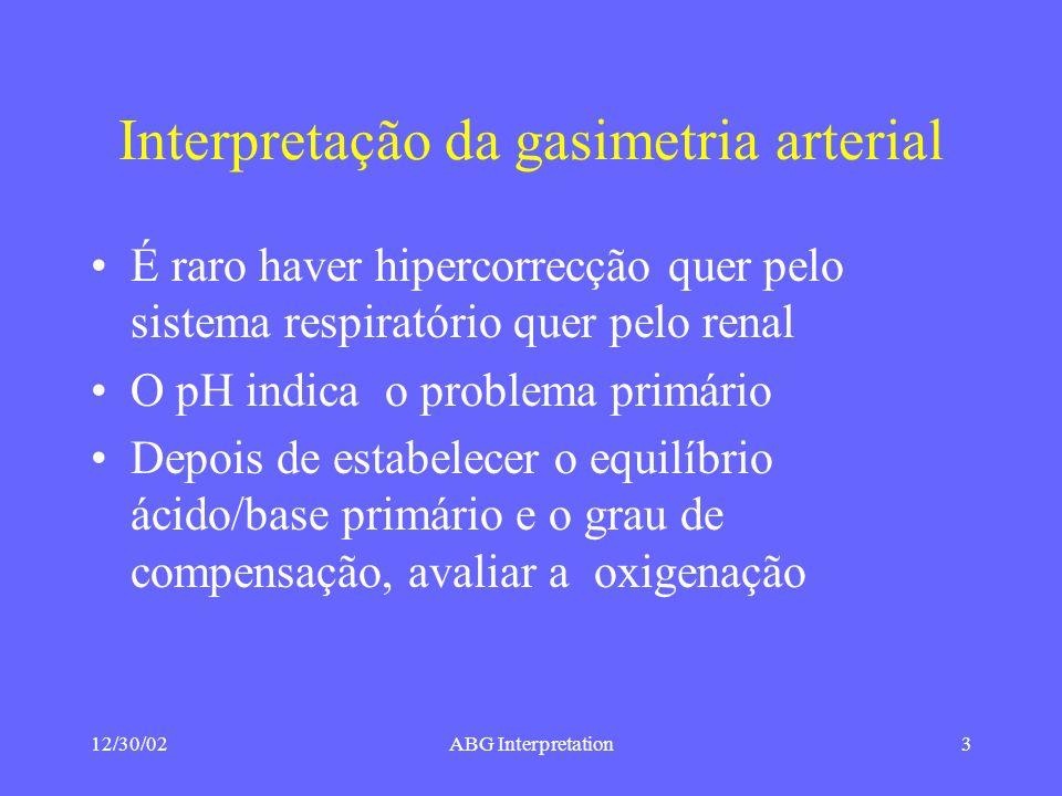 12/30/02ABG Interpretation3 Interpretação da gasimetria arterial É raro haver hipercorrecção quer pelo sistema respiratório quer pelo renal O pH indica o problema primário Depois de estabelecer o equilíbrio ácido/base primário e o grau de compensação, avaliar a oxigenação