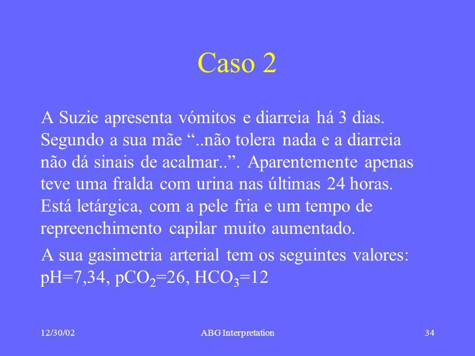 12/30/02ABG Interpretation34 Caso 2 A Suzie apresenta vómitos e diarreia há 3 dias.