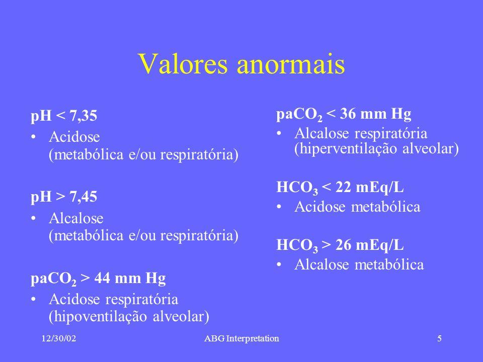 12/30/02ABG Interpretation5 Valores anormais pH < 7,35 Acidose (metabólica e/ou respiratória) pH > 7,45 Alcalose (metabólica e/ou respiratória) paCO 2 > 44 mm Hg Acidose respiratória (hipoventilação alveolar) paCO 2 < 36 mm Hg Alcalose respiratória (hiperventilação alveolar) HCO 3 < 22 mEq/L Acidose metabólica HCO 3 > 26 mEq/L Alcalose metabólica