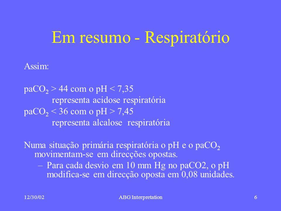 12/30/02ABG Interpretation6 Em resumo - Respiratório Assim: paCO 2 > 44 com o pH < 7,35 representa acidose respiratória paCO 2 7,45 representa alcalose respiratória Numa situação primária respiratória o pH e o paCO 2 movimentam-se em direcções opostas.