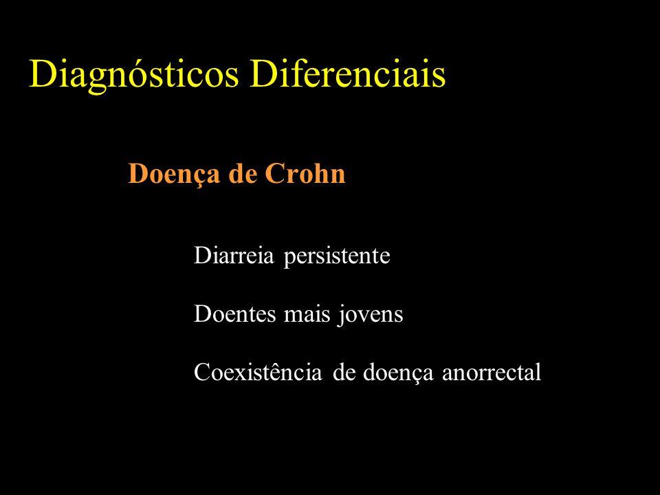 Diagnósticos Diferenciais Doença de Crohn Diarreia persistente Doentes mais jovens Coexistência de doença anorrectal