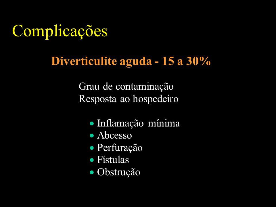 Complicações Diverticulite aguda - 15 a 30% Grau de contaminação Resposta ao hospedeiro Inflamação mínima Abcesso Perfuração Fístulas Obstrução